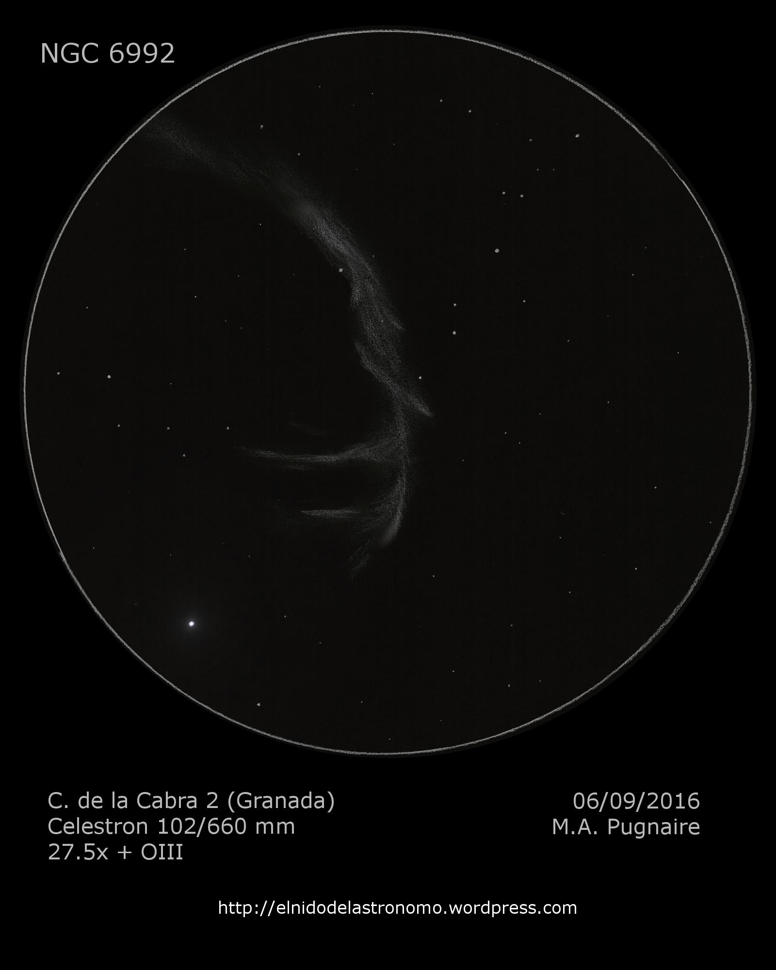 NGC 6992 con Celestron NexStar 102SLT, por Miguel Ángel Pugnaire
